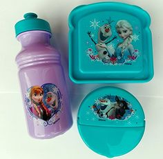 Exclusive Disneys Frozen Featuring Anna Elsa and Olaf 3Piece Lunch Box Set *** Check out this great product.