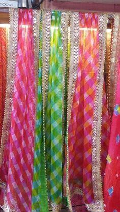 Lehariya checks duppatas on georget by Araina fabs, Mount abu Indian Salwar Suit, Punjabi Salwar Suits, Indian Suits, Indian Attire, Pakistani Dresses, Indian Dresses, Suits For Women, Clothes For Women, Simple Sarees