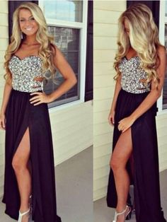 Black Chiffon Prom Dress, Sweetheart Sleeveless Prom Dress, long prom dress, zipper back prom dress