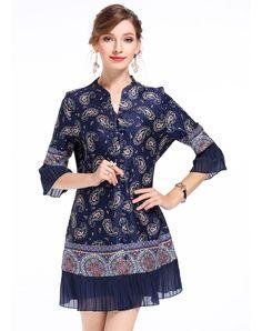 #AdoreWe #VIPme A-Line Dresses - DAIPYA Blue Paisley Print Pleated A-line Dress - AdoreWe.com