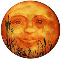Yesterday, the of September, there was a Harvest Moon. That sounds romantic, but I had to look up what a Harvest Moon is; Sun Moon Stars, Sun And Stars, Halloween Art, Vintage Halloween, Victorian Halloween, Halloween Clipart, Halloween Images, Moon Face, Paper Moon