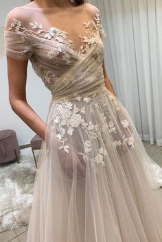 champagne tulle lace long prom dress, lace evening dress Light champagne tulle lace long prom dress, lace evening dress on Storenvy Dream Wedding Dresses, Bridal Dresses, Prom Dresses, Long Dresses, Ethereal Wedding Dress, Woodland Wedding Dress, Formal Dresses, Boho Wedding, Blue Dresses