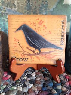 Primitive Crow and Bittersweet Mini Hand by VintageTrimmings, $15.00
