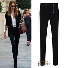 Fashion hot-selling 2015 double zipper slim elastic skinny pants pencil pants legging bottom women's apparel free shipping