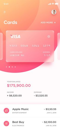 credit card ui design Banking app for iOS. Use of gradient and force blur behind the transparent cards coupled with great use of hierarchy makes for a very modern design. Web And App Design, Ios App Design, Mobile Ui Design, Design Websites, Dashboard Design, User Interface Design, Wireframe Design, Design Responsive, Responsive Web