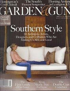 """Another porch swing...and how do I not know of the magazine """"garden and gun""""?;)"""