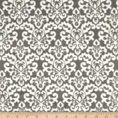 Minky Cuddle Classic Damask Charcoal/White from @fabricdotcom  This damask printed minky fabric has an extremely soft 3 mm pile that's perfect for apparel, blankets, throws, pillows and stuffed animals.