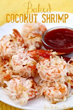 This delicious Baked Coconut Shrimp from SixSistersStuff.Com is the perfect appetizer or main dish! #seafood #bakedfood #recipe