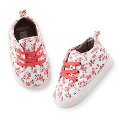 Floral Sneaker Crib Shoes http://www.carters.com/carters-baby-baby-girl-accessories-shoes-and-slippers/V_28260.html?dwvar_V__28260_color=Color#navID=header&start=10&cgid=carters-baby-baby-girl-accessories-shoes-and-slippers