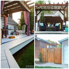 These 18 backyard pergola ideas will help provide you with outdoor shade year round! Add your own style to make it yours! - Outdoor Shade - Ideas of Outdoor Shade Pergola Ideas For Patio, Pergola Swing, Outdoor Pergola, Pergola Lighting, Wooden Pergola, Cheap Pergola, Backyard Pergola, Pergola Shade, Decks