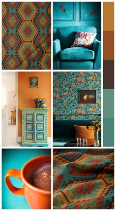 'Agate' from Spiffy Spools. Curtains and roman shades featuring a rich jewel-like color palette with mustard yellow, tangerine orange, russet red and burnt umber brown. Unabashedly exotic and decidedly luxurious. #yellowaesthetic #blueaesthetic #paintpalette #bedroompalette Orange Palette, Orange Color Schemes, Orange Color Palettes, Red Colour Palette, House Color Schemes, Tangerine Bedroom, Burnt Orange Bedroom, Blue And Orange Living Room, Orange Dining Room