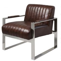 Adding midcentury style to your desk or dining table, this contemporary armchair showcases stitched leather upholstery and a chrome-finished frame. Contemporary Armchair, Contemporary Furniture, Black Leather Armchair, Occasional Chairs, Upholstered Chairs, Home Accessories, Upholstery, Furniture Design, Interior Design