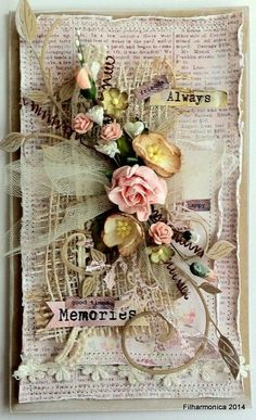 inkido: February challenge inspiration by Filharmonica Atc Cards, Card Tags, Altered Canvas, Altered Art, February Challenge, Mixed Media Cards, Shabby Chic Cards, Pretty Cards, Flower Cards