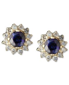 Royalty Inspired by Effy Sapphire (5/8 ct. t.w.) and Diamond (1/4 ct. t.w.) Round Stud in 14k Gold