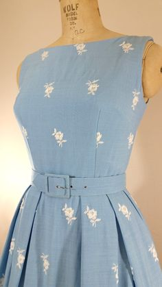 1950 Blue Floral Dress White Roses Dress by ThriftyVintageKitten