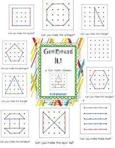 First Grade Blue Skies: Ta-Dah! GeoBoard It! Math Station Pack and a Freebie! Math Classroom, Kindergarten Math, Teaching Math, Math Stations, Math Centers, Work Stations, Math Games, Math Activities, Geo Board