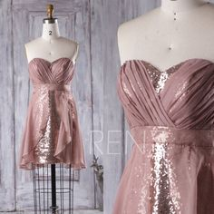 2016 Dusty Rose Chiffon Bridesmaid Dress Long, Sweetheart Rose Gold Sequin Wedding Dress, A Line Ruffle Prom Dress Strapless Knee (TQ155)