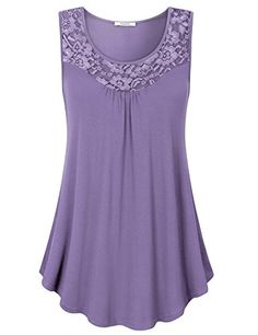 d134c74f25d Enjoy exclusive for Youtalia Womens Summer Sleeveless Tops Lace Scoop Neck  Pleated Front Office Tank online