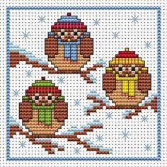 Χριστούγεννα κουκουβάγιες διασχίζουν σετ καρτών βελονιά