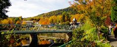 A view from the Bridge of Flowers of the Iron Bridge in Shelburne Falls