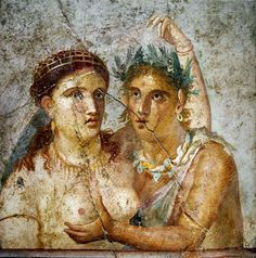 Satyr and Nymph - Painting from House of Caecilius Jucundus, Pompeii. Museo Archeologico Nazionale Napoli.