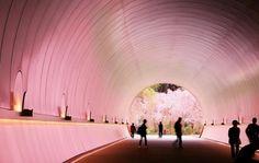 トンネルの先の桜の光を反射し、ピンク色に染まるトンネル=2017年4月18日、滋賀県甲賀市、細川卓撮影 Miho Museum, Four Seasons, Clouds, Japan, Lighting, Architecture, Pink, Arquitetura, Light Fixtures