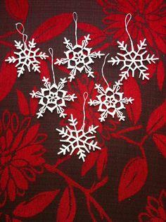 Fiocchi di neve crochet bianco inverno decorazione decorazione