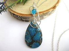 Blue Stone Necklace, Natural Stone Jewelry, Jasper and Pyrite Wrapped with Sterling Silver Wire by SimpleGem, $34.00
