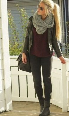 sweater, fall fashions, infinity scarfs, cold weather fashion, fall outfits, leather jackets, fall boots, black jeans, scarv
