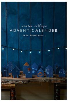 Free Printable DIY Advent Calendar- Winter Village | Rosehip