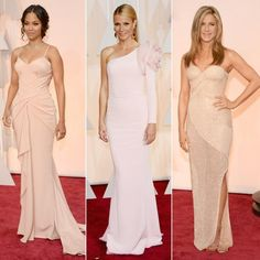 Pretty in pastels! The ladies of the 2015 Oscars red carpet sweetened up in a soft range of light shades, from blush to ivory to champagne to nude. New momZoe Saldana, for one, debuted her jaw-dropping post-baby bod in a custom blush Atelier Versace gown draped at the waist with a full train (above, left).…