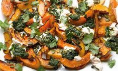 Yotam Ottolenghi recipes: roast squash with chilli yoghurt and coriander sauce, plus mushroom and lime bruschetta. One of my favorite chefs! Ottolenghi Recipes, Yotam Ottolenghi, Vegetable Recipes, Vegetarian Recipes, Cooking Recipes, Healthy Cooking, Healthy Recipes, Vegetable Dishes, Fall Recipes