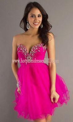 A Line V Neck Short Pink Strapless Prom Dresses for Sale