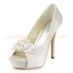 simple formal wedding shoes ivory satin peep toe bridal shoes