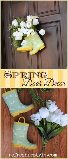 Rain Boots Refreshed DIY Spring Door Decor she explains how to rough up the flowers to make them Diy Spring, Spring Door, Spring Crafts, Spring Summer, Wreath Crafts, Diy Wreath, Diy Crafts, Arte Floral, Front Door Decor