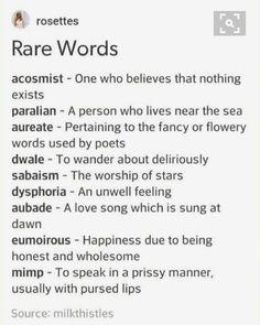 Rare Words, Unusual Words, Weird Words, Cool Words, Unusual English Words, Essay Writing Skills, Book Writing Tips, Writing Words, Writing Ideas