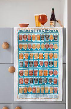 Beers of the World Tea Towel Stuart Gardiner