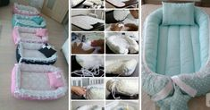 The birch nest is one of the great successes of the moment. The baby nest is an attempt to recreate a comfortable environment for the baby. The birthing Cute Dog Beds, Diy Dog Bed, Baby Nest Pattern, Baby Nest Bed, Baby Girl Room Decor, Baby Sewing Projects, Baby Crafts, Baby Kids, Blanket