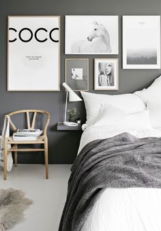 How to hang a gallery wall the perfect way, interior bloggers, monochrome, bedroom