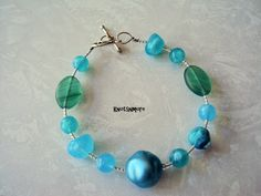 Blue and Green Bracelet by KnotsnMore on Etsy