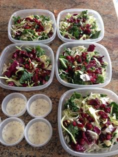 Meal prep for the week: super greens salad, kale, Brussels sprouts, radicchio, cranberries, pumpkin seeds and poppy seed dressing. I found this salad at Costco. delicious!