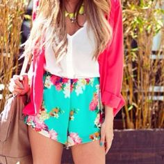 Bright colors for springs. The shorts are a cute color too.