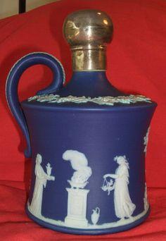 Magnificent RARE Antique Dark Blue Wedgwood Jasperware Wine Jug w Silver Mount | eBay Wedgewood China, Silver Tops, China Patterns, Wedgwood, Rare Antique, Cobalt, Dark Blue, Porcelain, Vase