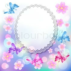 Vector of 'Floral background with butterfly' on Colourbox