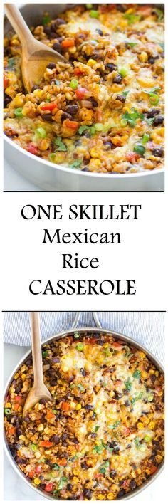 One Skillet Mexican Rice Casserole- an easy dinner recipe with almost zero clean up! #glutenfree #meatless #cleaneating
