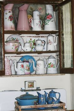 My French enamelware collection...addicted to floral pieces!  Visit me at chateauetjardin.blogspot.com