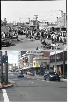 Burwood Road, Burwood opposite the park in the 1920s and in 2014 [1920s photo NLA > 2014 Allan Hawley. By Allan Hawley]