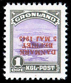 Greenland, 1945, 1öre Liberation, inverted overprint (Fait 19v, Scott 19 var)