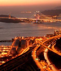 Hong Kong Tsing Ma Bridge Lit Up at Night