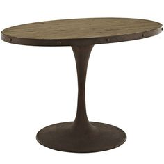 """Drive 47"""""""" Oval Wood Top Iron Dining Table in Brown"""